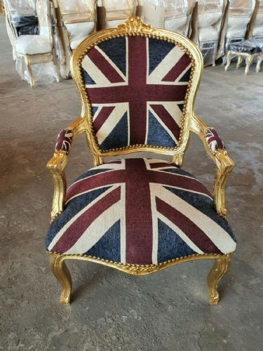 CHAIRS FRANCE BAROQUE STYLE LADY CHAIR WITH ARMRESTS GOLD / UNION JACK #55F3